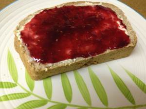 Ezekiel's Bread with Raspberry Jam